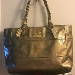 Coach Large Gallery Tote Metallic Gold